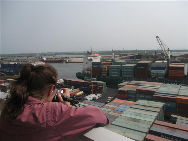 Esther videotaping the harbour